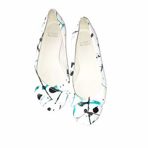 Stuart Weitzman Splattered White Open Toe Shoes 7